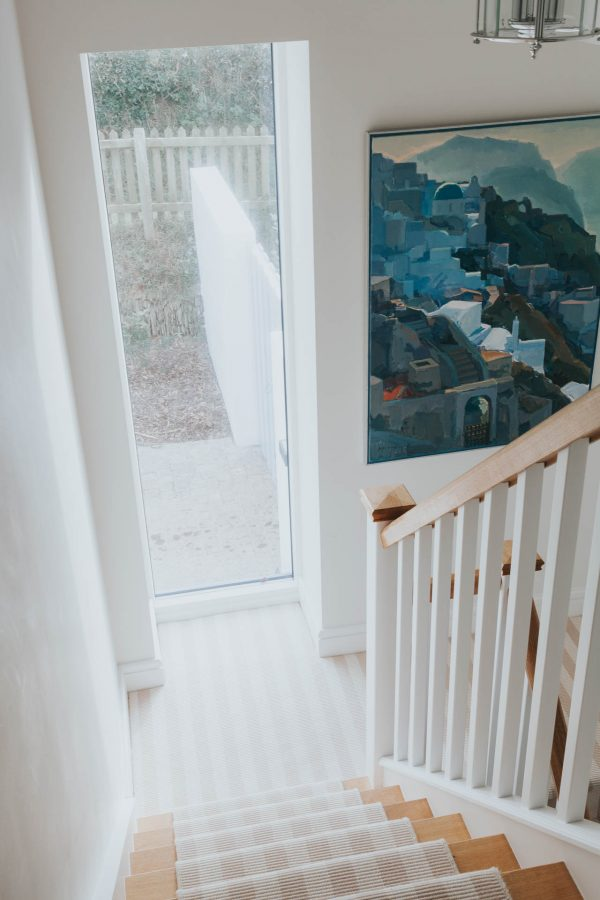 bespoke oak and painted staircase by South Devon Architects Andrew Lethbridge Associates