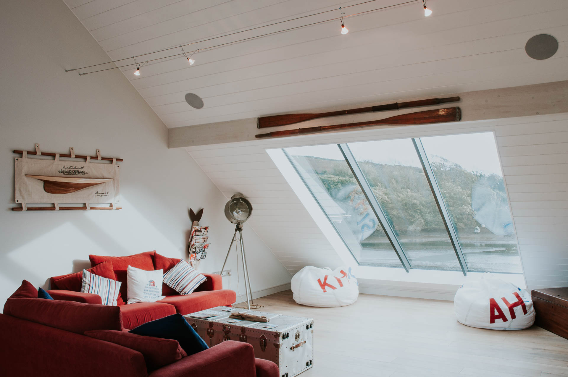 Timber clad ceiling to vaulted living space by Kingsbridge Architects Andrew Lethbridge Associates