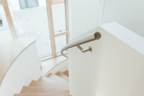 curved staircase handrail by south devon architects andrew lethbridge associates