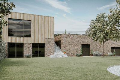 timber and stone clad modern house by salcombe architects andrew lethbridge associates