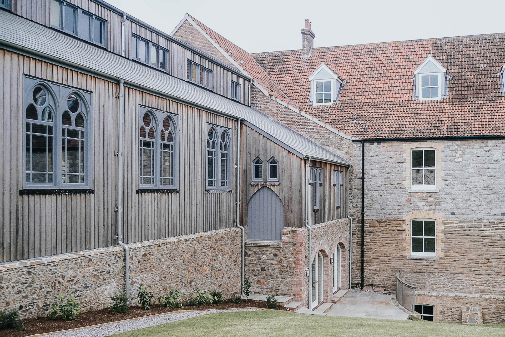 timber framed chapel in a contemporary listed building conversion