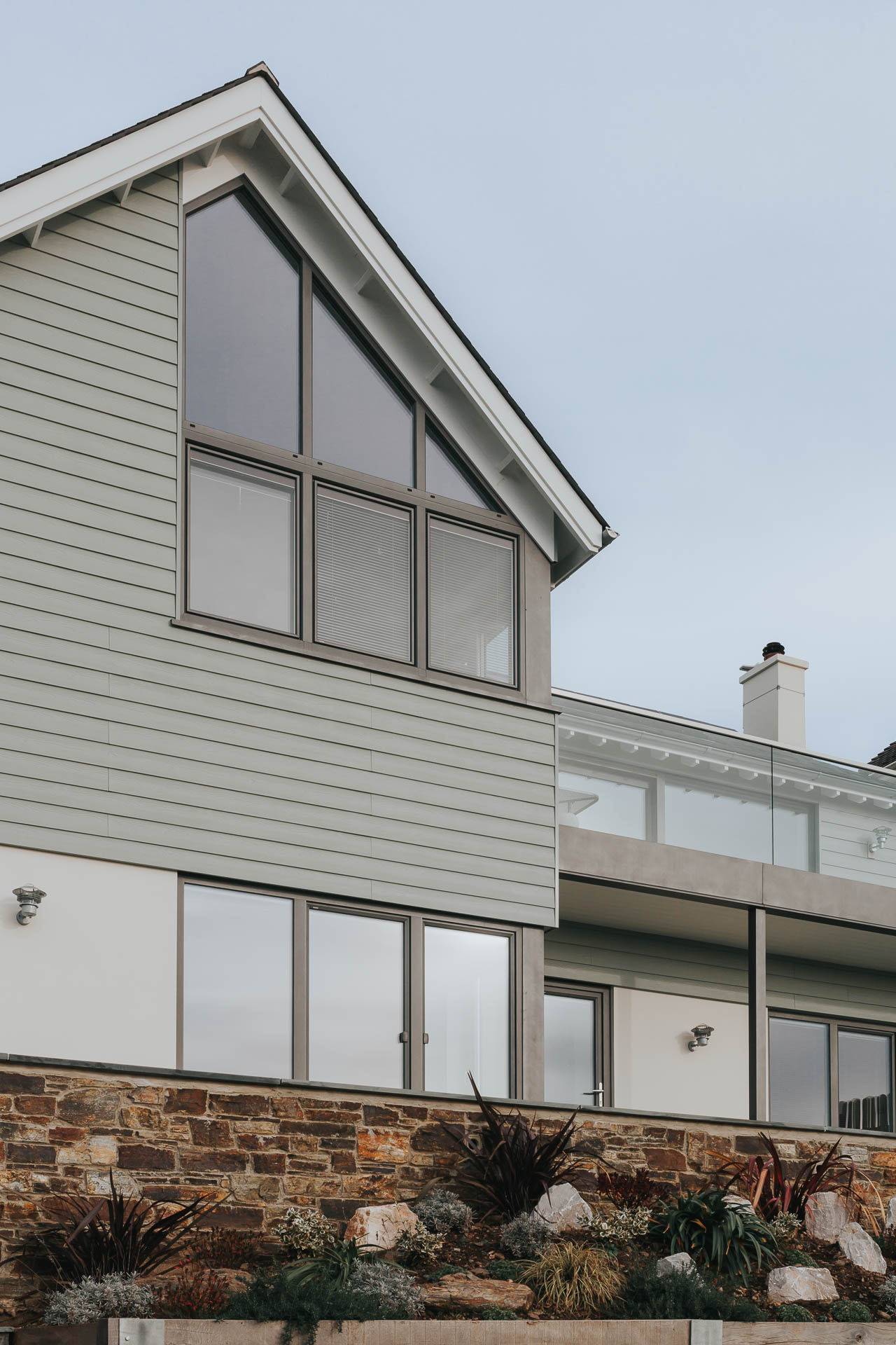 fibre cement cladding boards used on the first floor elevation