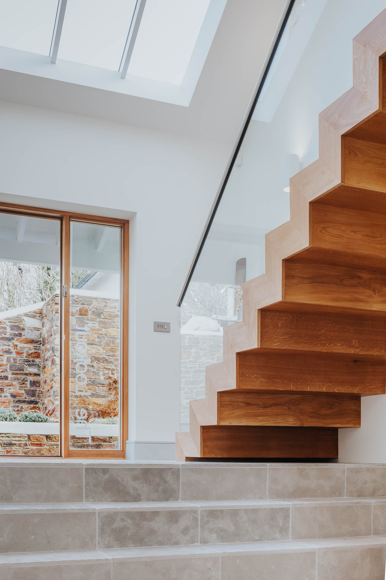 bespoke folded timber staircase by architects in salcombe andrew lethbridge associates