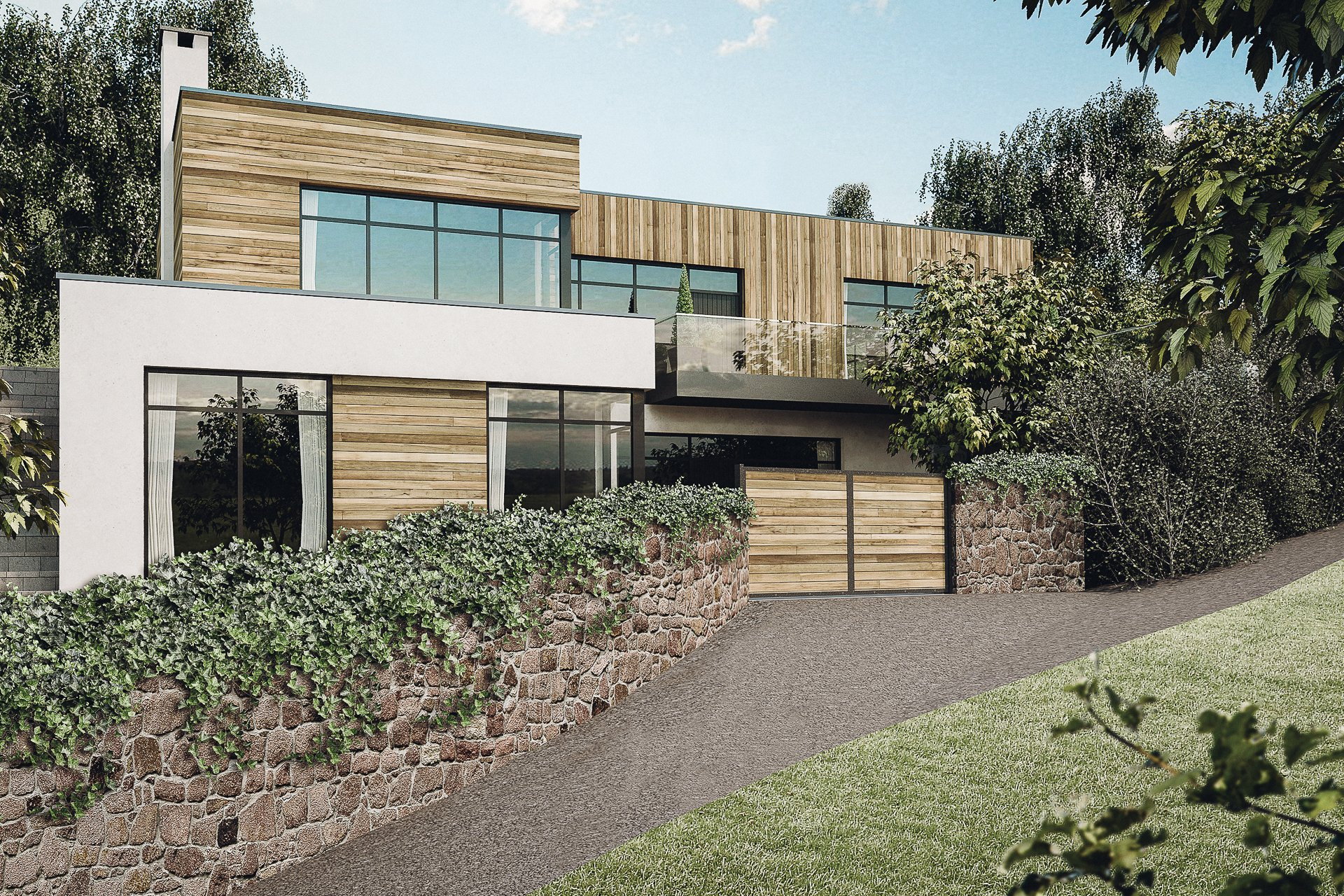 modern house in Devon with green roof and timber cladding